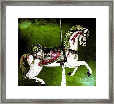 Christmas Green Carousel Horse Framed Print