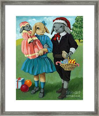 Christmas Greetings From Appletree Hollow - Animal Art Framed Print by Linda Apple