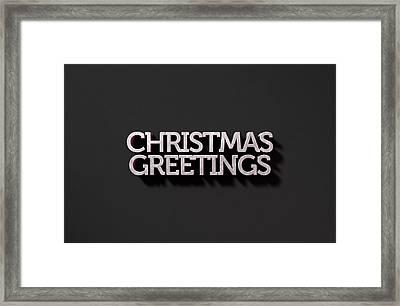 Christmas Greetings Text On Black Framed Print