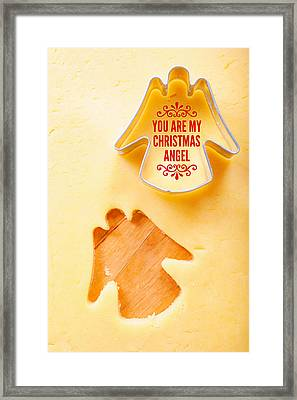 Christmas Greetings With Angel Framed Print by Matthias Hauser