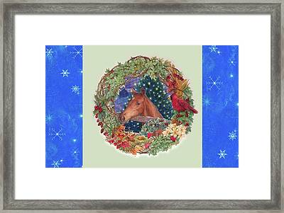 Christmas Horse And Holiday Wreath Framed Print