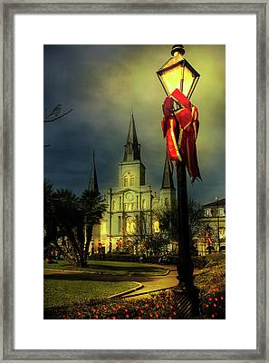 Christmas In Jackson Square Framed Print by Mary Albert