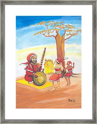 Framed Print featuring the painting Christmas In Senegal by Emmanuel Baliyanga