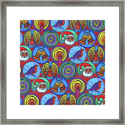 Christmas In Small Circles Framed Print by Jane Tattersfield