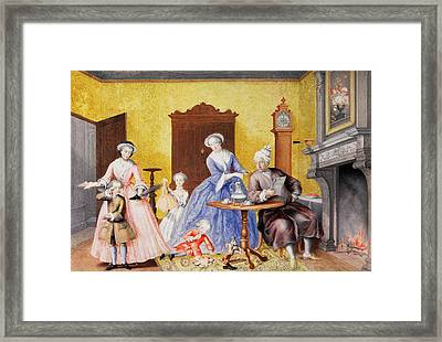Christmas In The Royal Household Of Empress Maria Theresa Of Austria With Family Framed Print