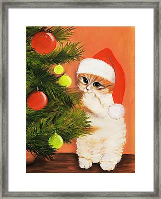 Christmas Kitty Framed Print by Anastasiya Malakhova