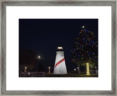 Christmas Lighthouse Framed Print