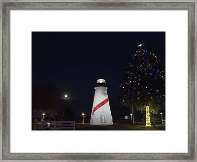 Christmas Lighthouse Framed Print