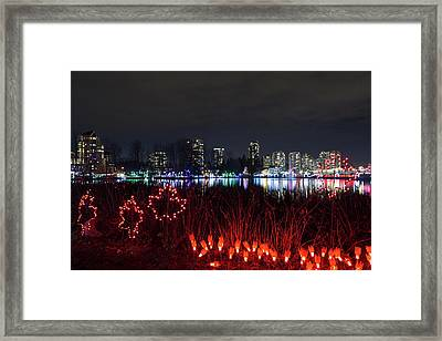 Christmas Lights At Lafarge Lake In City Of Coquitlam Framed Print