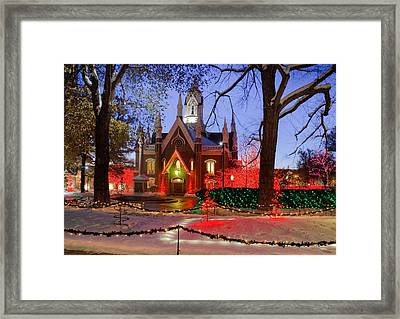 Christmas Lights At Temple Square Framed Print