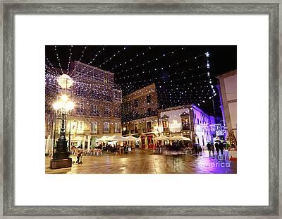 Christmas Lights In Casco Vello Vigo Spain Framed Print