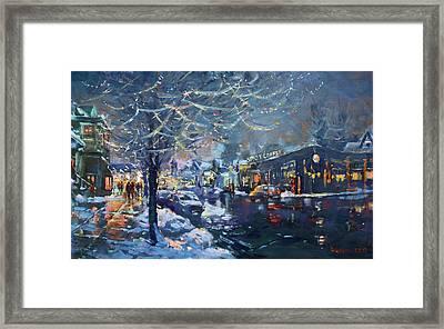 Christmas Lights In Elmwood Ave  Framed Print