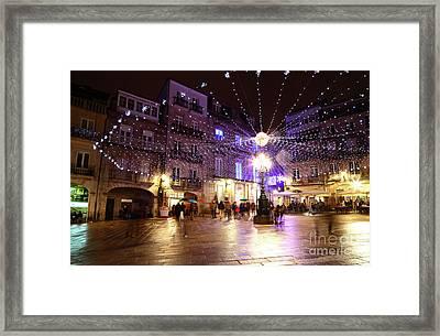 Christmas Lights In Historic Centre Of Vigo Spain Framed Print