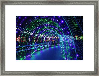 Christmas Lights In Tunnel At Lafarge Lake Framed Print