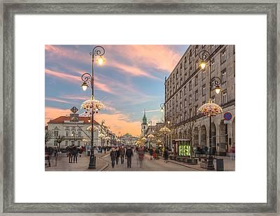 Christmas Lights In Warsaw Framed Print