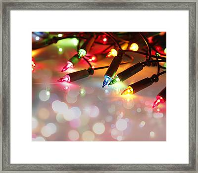 Christmas Lights Framed Print by Les Cunliffe