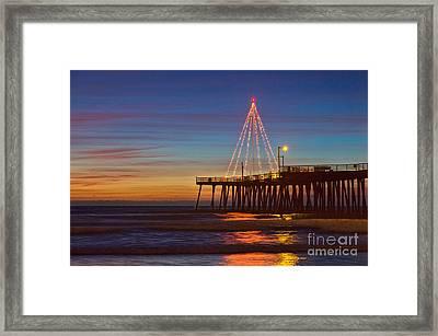 Christmas Lights On The Pismo Pier Framed Print