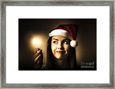 Christmas Lights Woman With Bright Idea Framed Print
