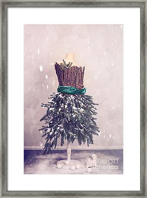 Christmas Mannequin Dressed In Fir Branches Framed Print by Amanda Elwell