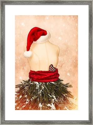 Christmas Mannequin With Santa Hat Framed Print by Amanda Elwell