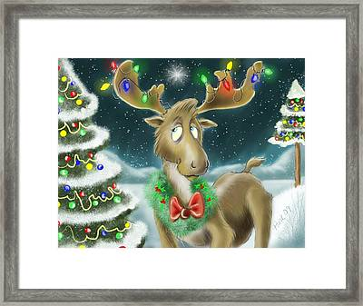 Christmas Moose Framed Print by Hank Nunes