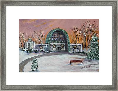Framed Print featuring the painting Christmas Morning At Sacred Heart Church by Rita Brown