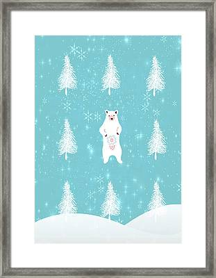 Christmas Morning Bear Framed Print by Amanda Lakey