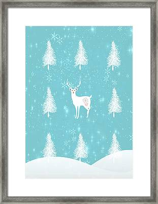 Christmas Morning Stag Framed Print by Amanda Lakey