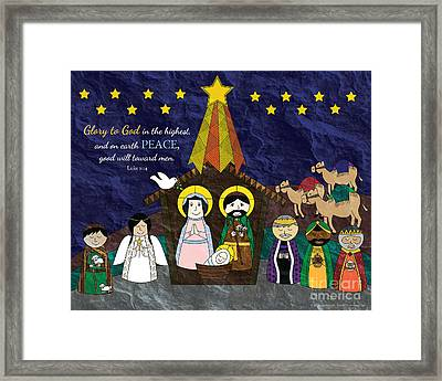 Christmas Nativity Scene Framed Print