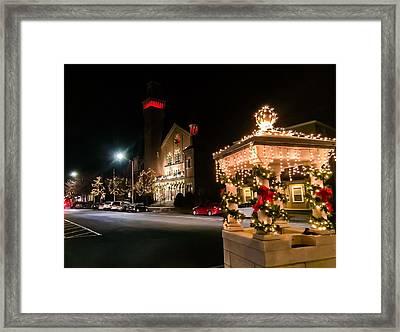 Christmas On Main Street Easthampton Framed Print