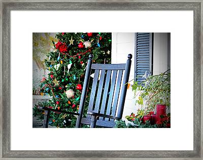 Christmas On The Porch Framed Print by Cynthia Guinn