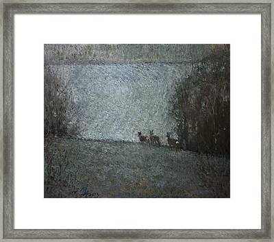 Christmas Painting With Roes Framed Print