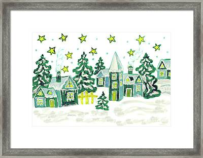 Christmas Picture In Green Framed Print