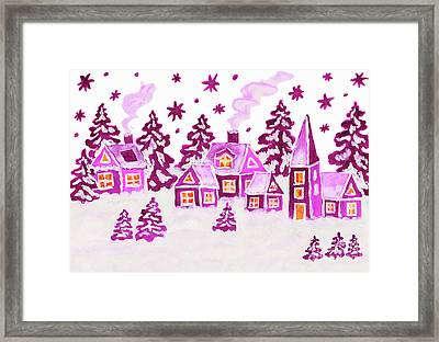 Christmas Picture In Pink Colours Framed Print