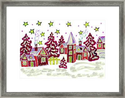 Christmas Picture In Red Framed Print