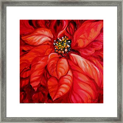 Christmas Poinsettia Framed Print by Marcia Baldwin