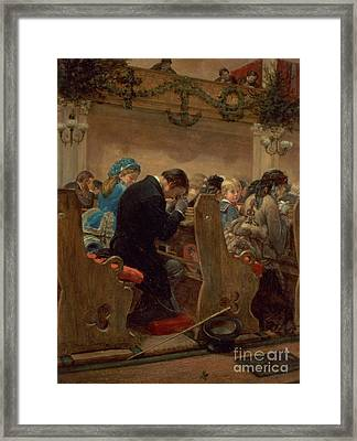 Christmas Prayers Framed Print by Henry Bacon