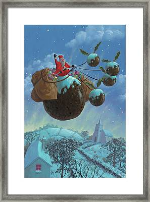 Christmas Pudding Santa Ride Framed Print by Martin Davey