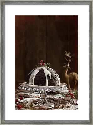 Christmas Pudding With Cream Framed Print