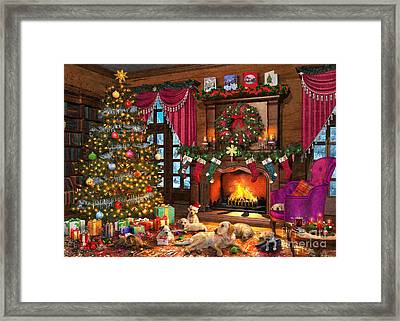 Christmas Puppies Framed Print by Dominic Davison