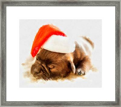 Christmas Puppy Framed Print by Esoterica Art Agency