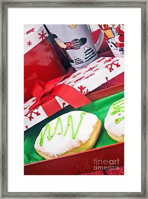 Christmas Raspberry Filled Jelly Donuts Framed Print by Vizual Studio
