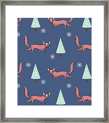Christmas Red Fox Pattern Framed Print by Uma Gokhale