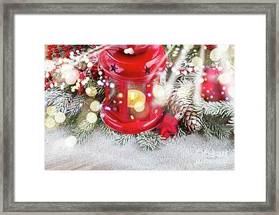 Christmas Red Lantern  Framed Print