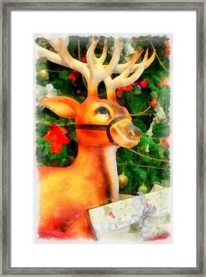Christmas Reindeer Framed Print by Esoterica Art Agency