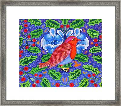 Christmas Robin Framed Print by Jane Tattersfield