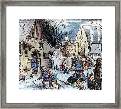 Christmas Scene Framed Print by German School