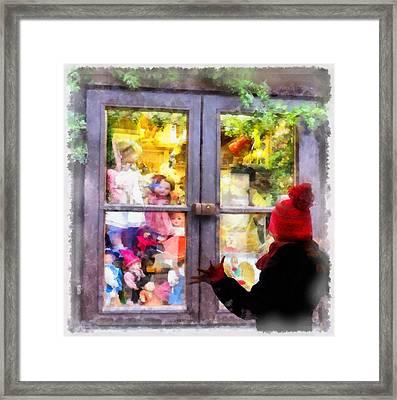 Christmas Shop Window Framed Print by Esoterica Art Agency