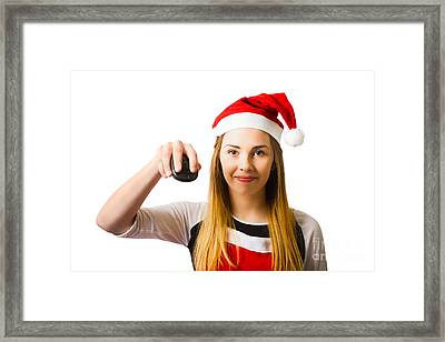 Christmas Shopping Girl Browsing Internet For Gift Framed Print by Jorgo Photography - Wall Art Gallery