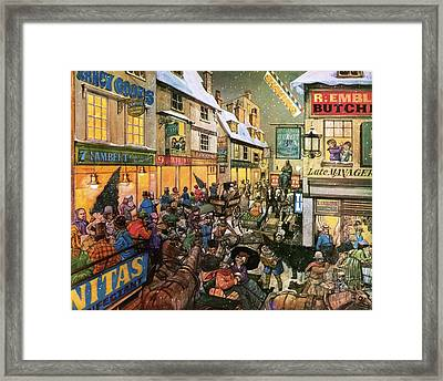 Christmas Shopping In Victorian Times Framed Print by Richard Hook